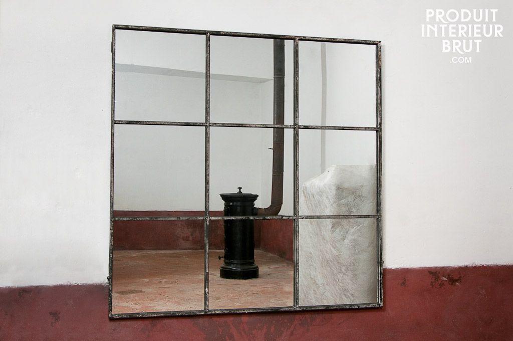 miroir industriel carr 9 sections salon pinterest miroir industriel produit int rieur. Black Bedroom Furniture Sets. Home Design Ideas