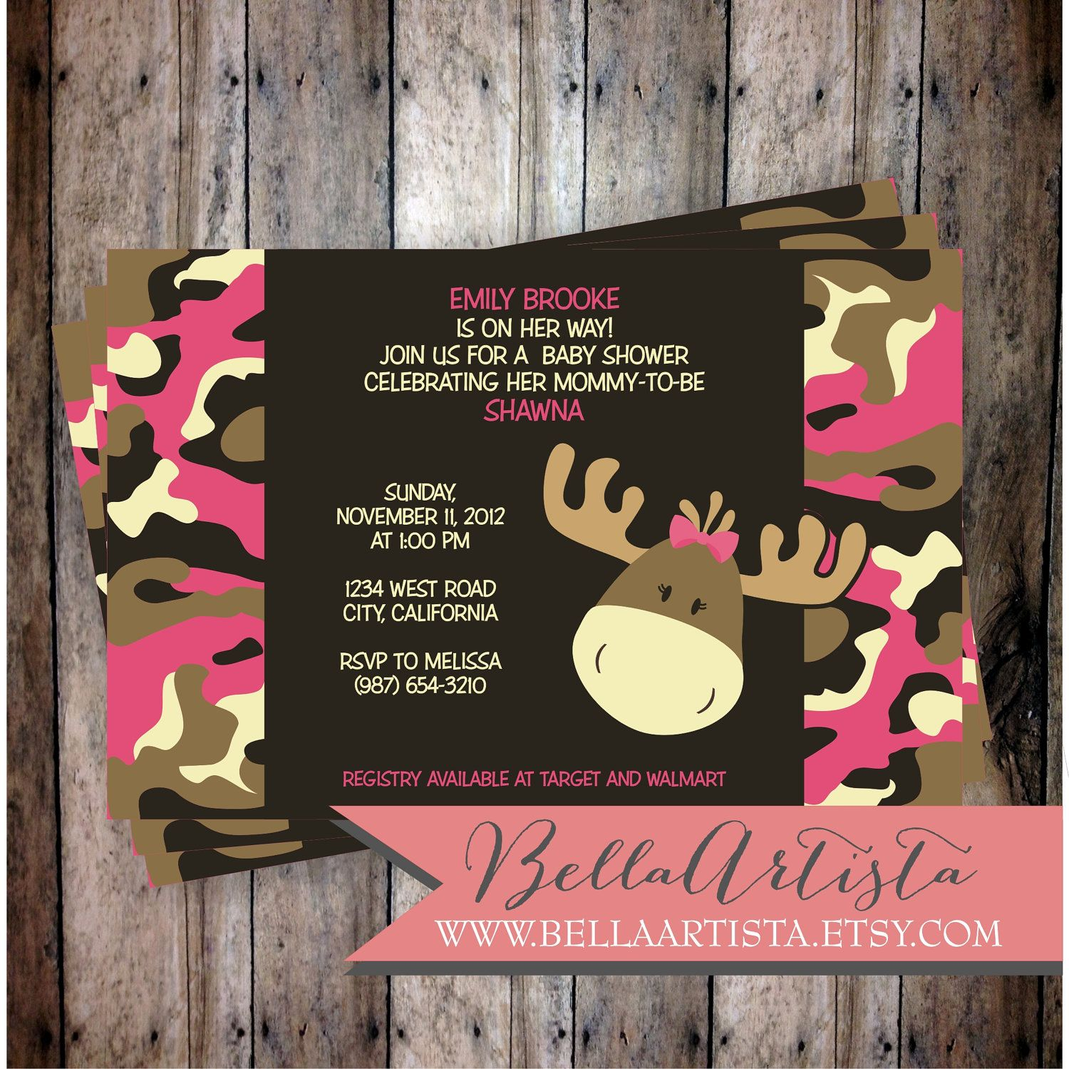 Pink & Girly Camouflage Moose Baby Shower Invitation