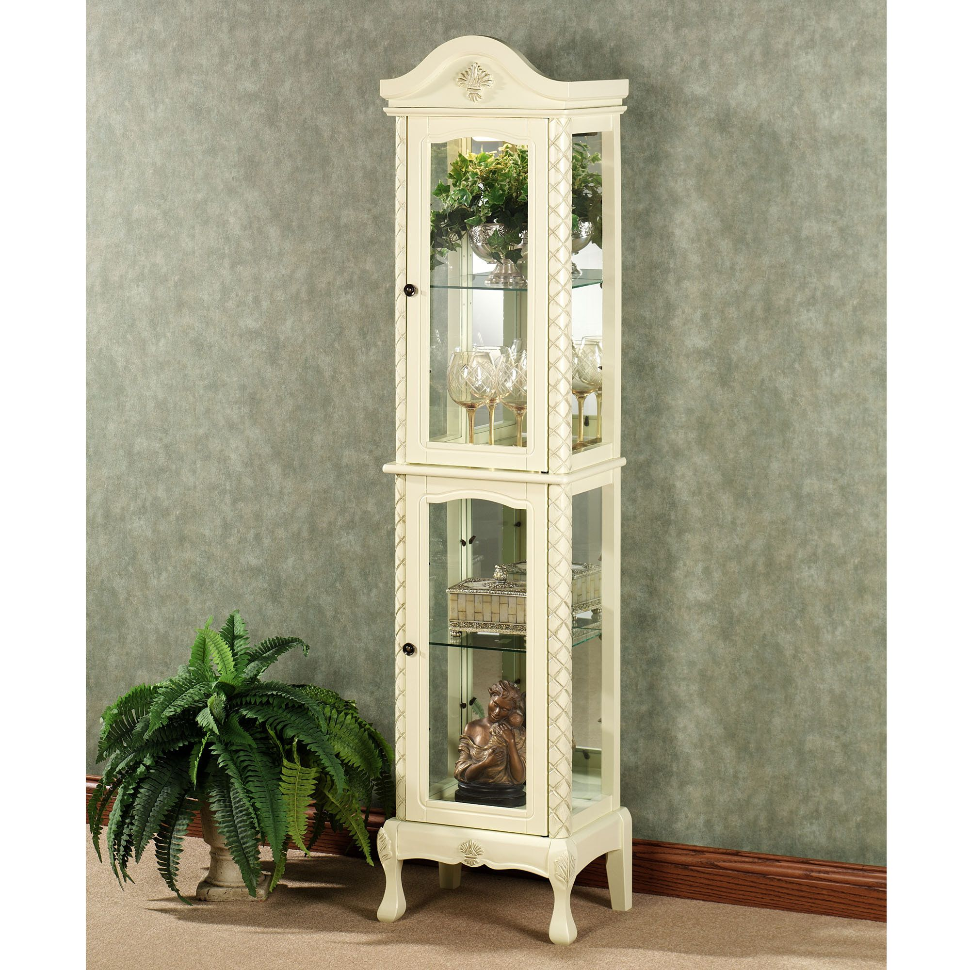 Captivating Winchell Curio Cabinet Ivory