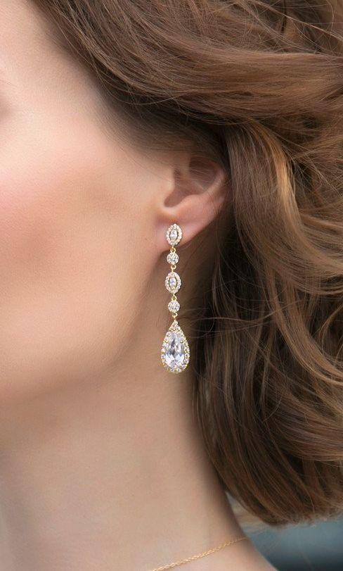 Luxury Wedding Earrings Rhodium Plated Cubic Zirconia Diamond Bridal Long Earrings