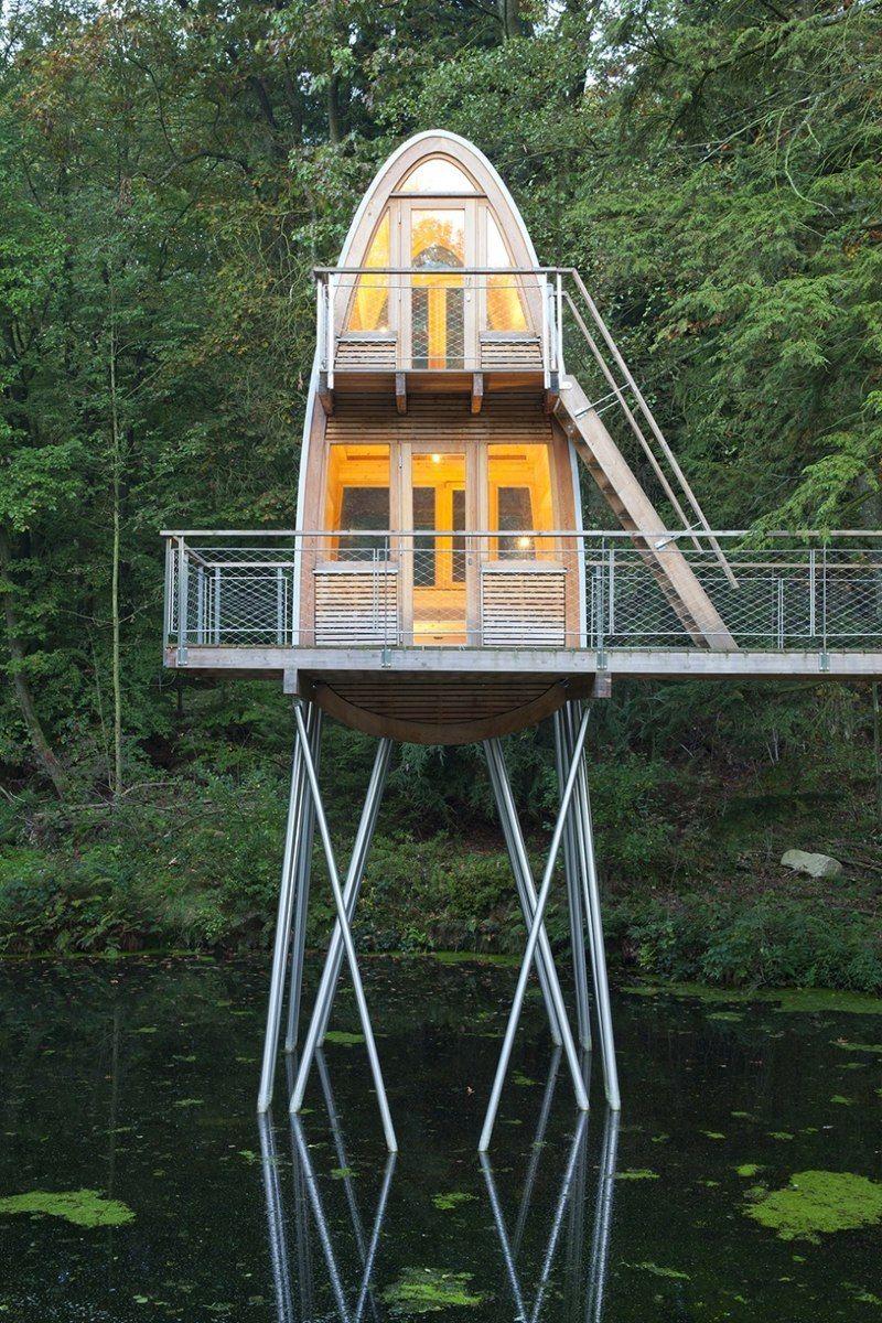 Tiny houses on stilts - Unusual Forest Cabin On Stilts Over Pond Weird Housestiny