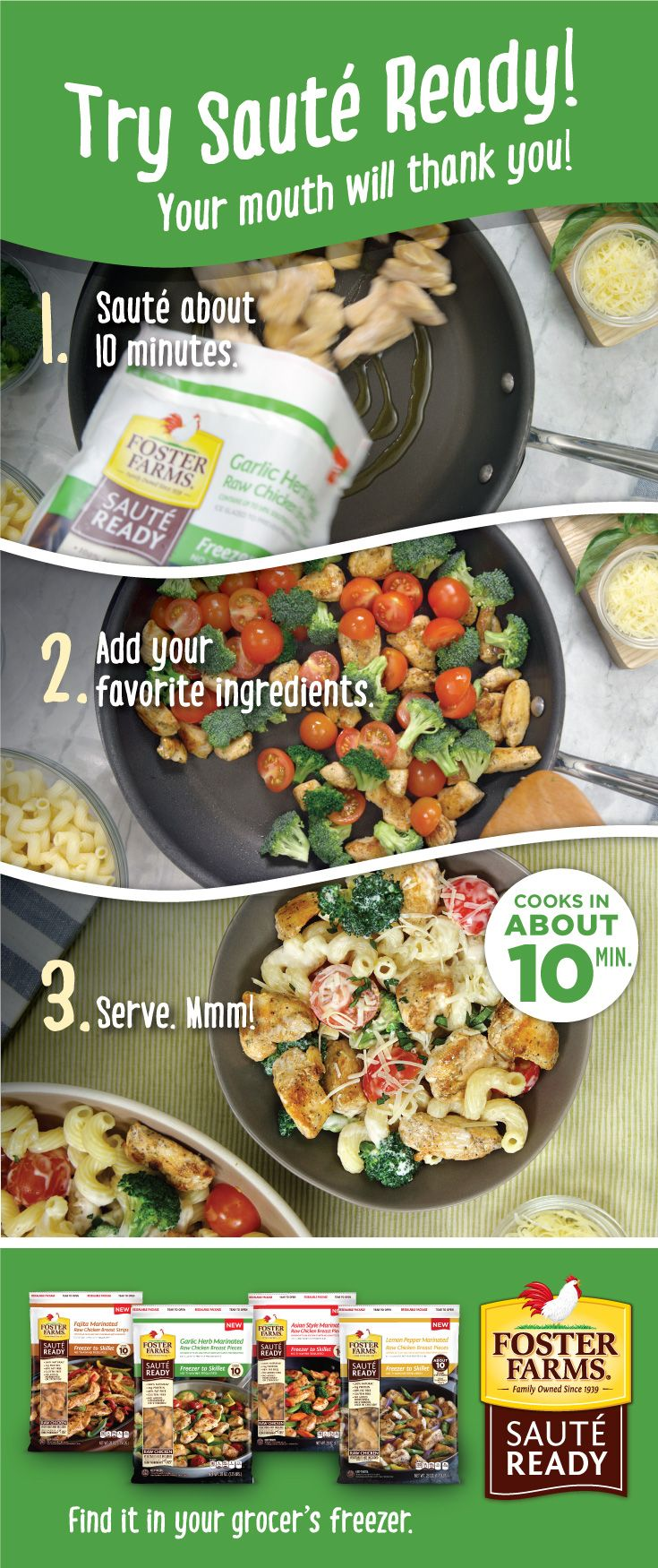 """""""MMMM!"""" Try Sauté Ready — your mouth will thank you! Find it in your grocer's freezer http://fosterfarms.com/sauteready"""