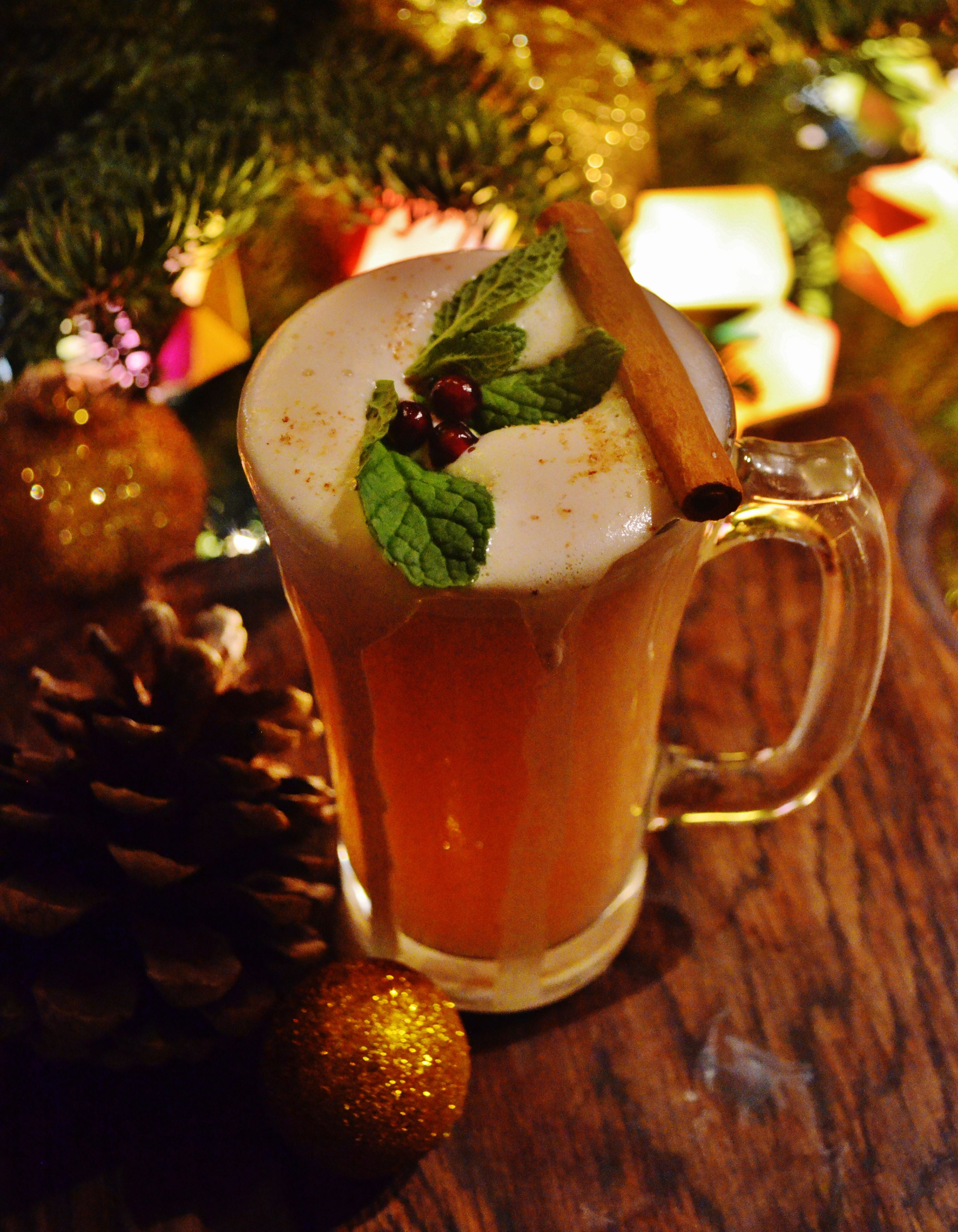 ~ 12 Cocktails of Christmas at the Mac House ~  #12 - WINTER'S KISS: Bulleit Rye, Frangelico, Tuaca, cinnamon, hot water, maple cream, shaved nutmeg.  Photo courtesy of Jennifer Clark and original cocktail courtesy of Kaitlin Hanna. — at MacCallum House Inn and Restaurant.