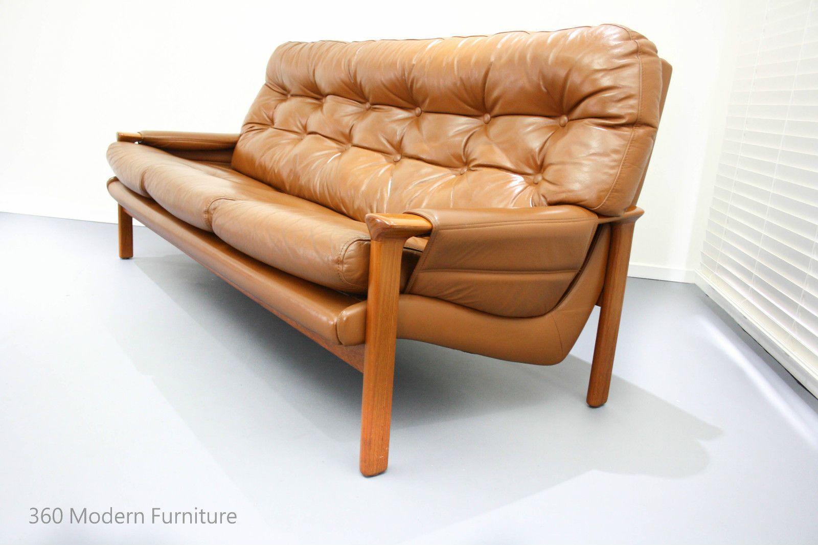 Tessa Leather 3 Seater 2 Armchairs Retro Vintage Lounge Suite Sofa Teak In Home Garden Furniture Sofas Couches