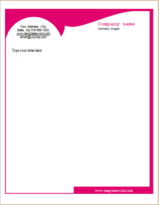 headed letter template word - business pink bright letterhead letterhead templates