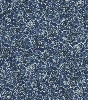 Silky Prints Rayon Fabric-Paisley Blues