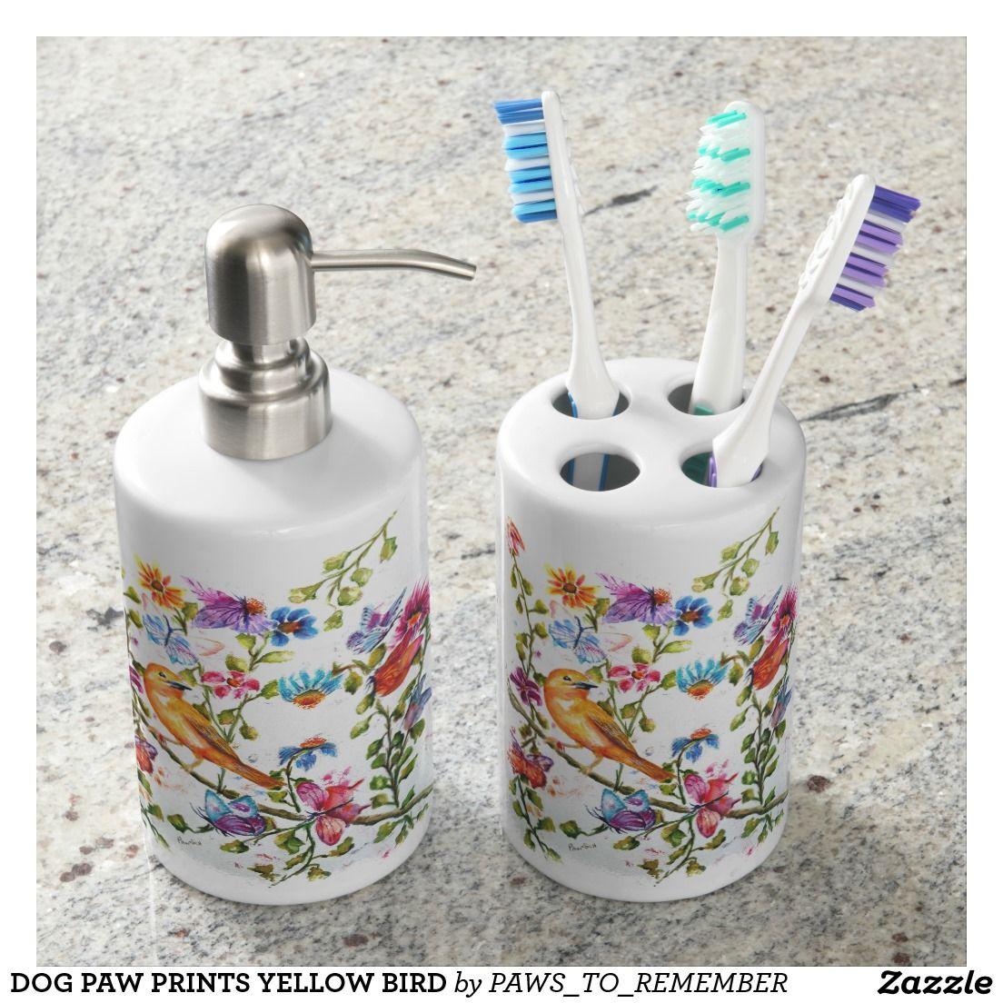 DOG PAW PRINTS YELLOW BIRD BATHROOM SET | Home Decor | Pinterest ...