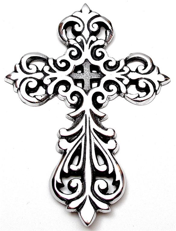 Aluminum Cross Set Of 2 Ornate 875 Tall New Tattoo
