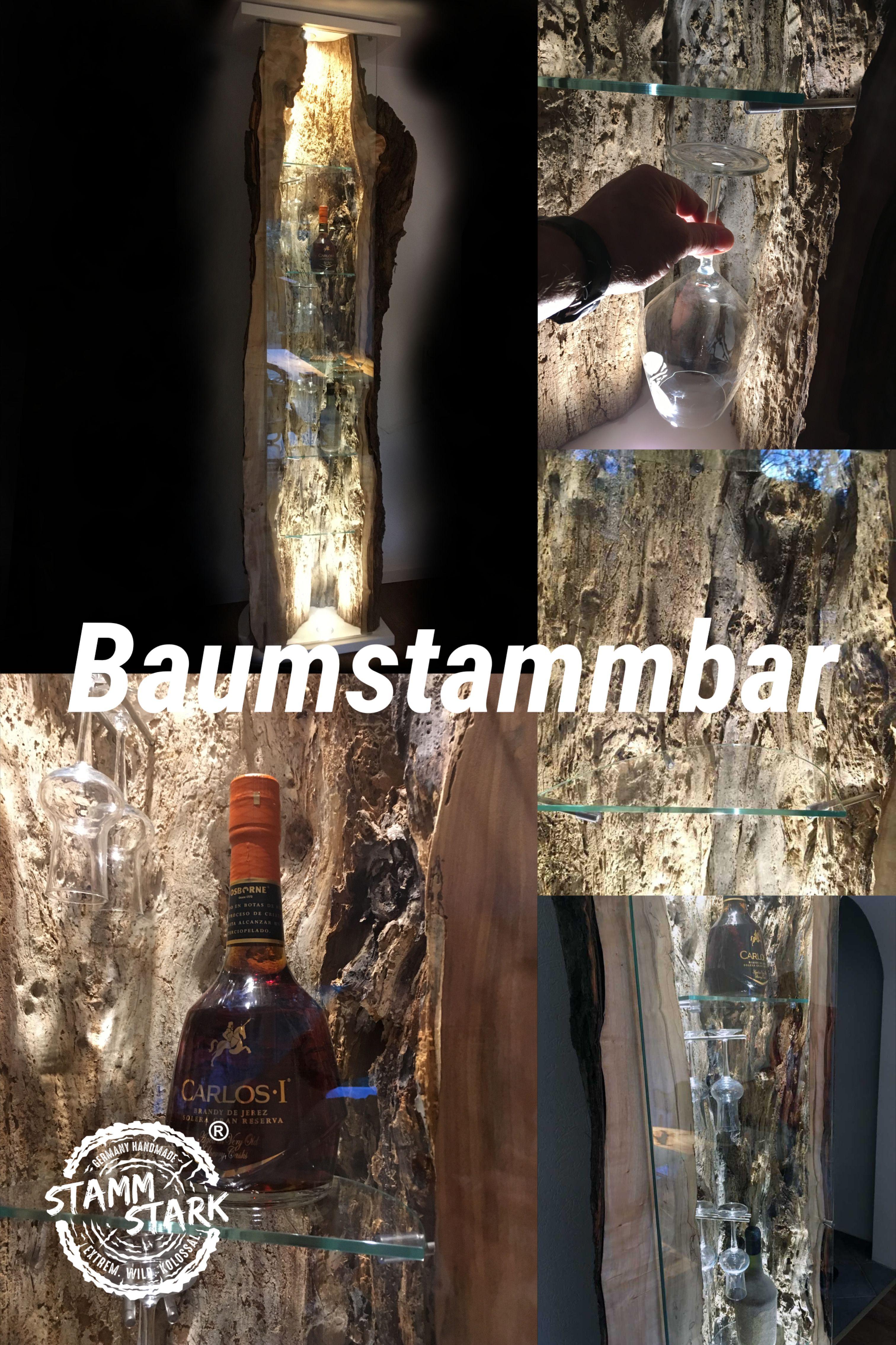 Baumstammbar In 2020 Baumstamm Flaschen Dekorieren Stielglaser