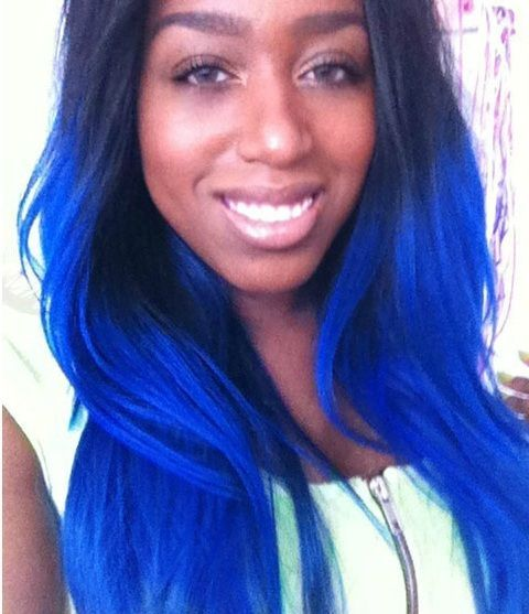 Royal Blue Hair On Black Skin Google Search Blue Ombre Hair