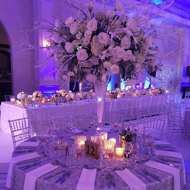 """One of the centerpieces I was """"working on"""" when @therealremyma came into the room. LOL - reality TV for ya! The team behind the amazing florals was @verdeflowers thanks to @metropolitanwholesale for supplying the gorgeous blooms that Remy selected for her big day. #lhhny #dayofcoordinator #weddingcoordinator #chasingcaydenbydesign #blacklove #meetthemackies"""