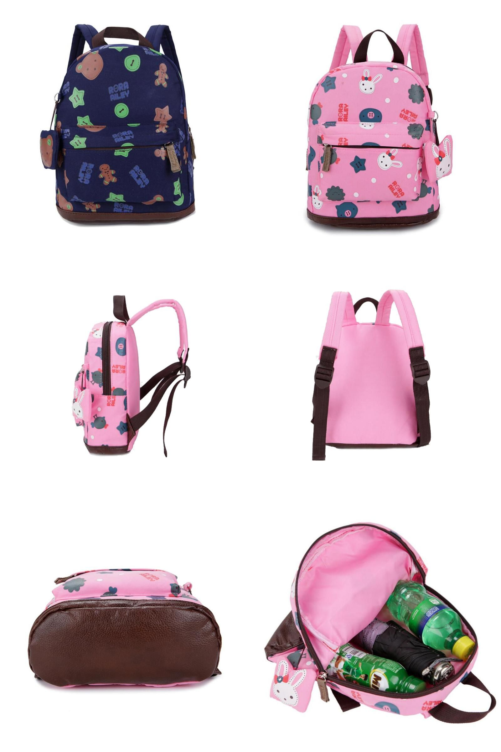 8828a35c70  Visit to Buy  Canvas backpack dark blue cartoon bear Kids print school bags  for