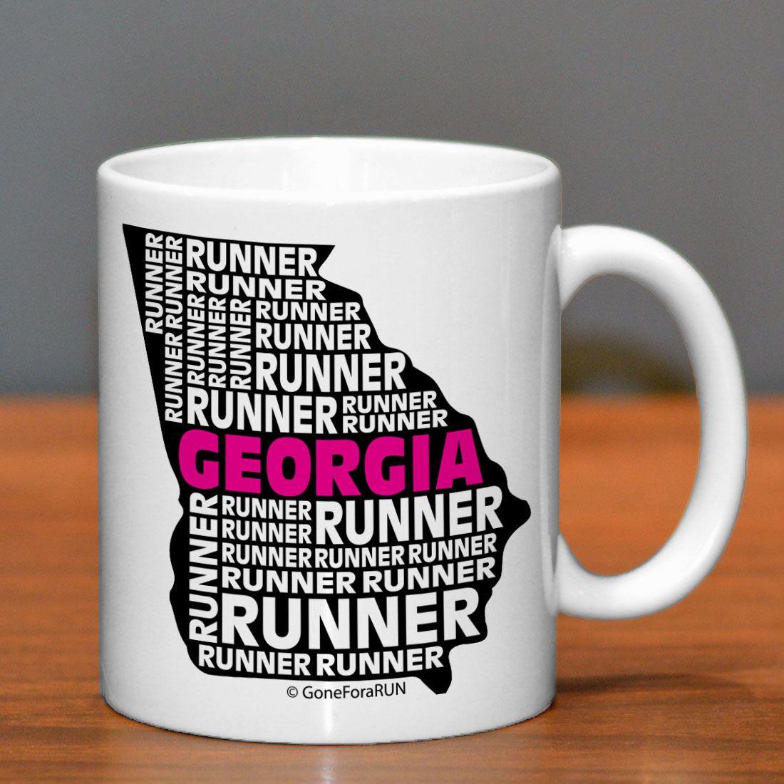 Georgia State Runner Ceramic Mug | Running Coffee Mugs | Coffee Mugs for Runners