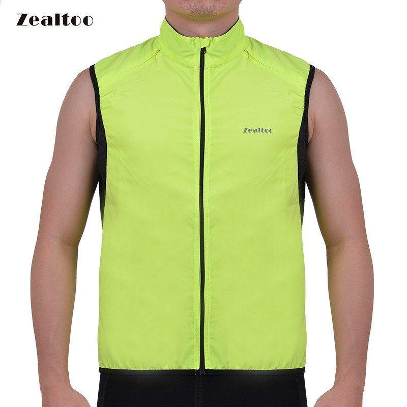 55c282c09 Zealtoo Green Cycling Vest Mænds Ultrathin Lette Ærmeløs Frakke Jakke  Running Cykelvest Udendørs Sportsbeklædning Windproof