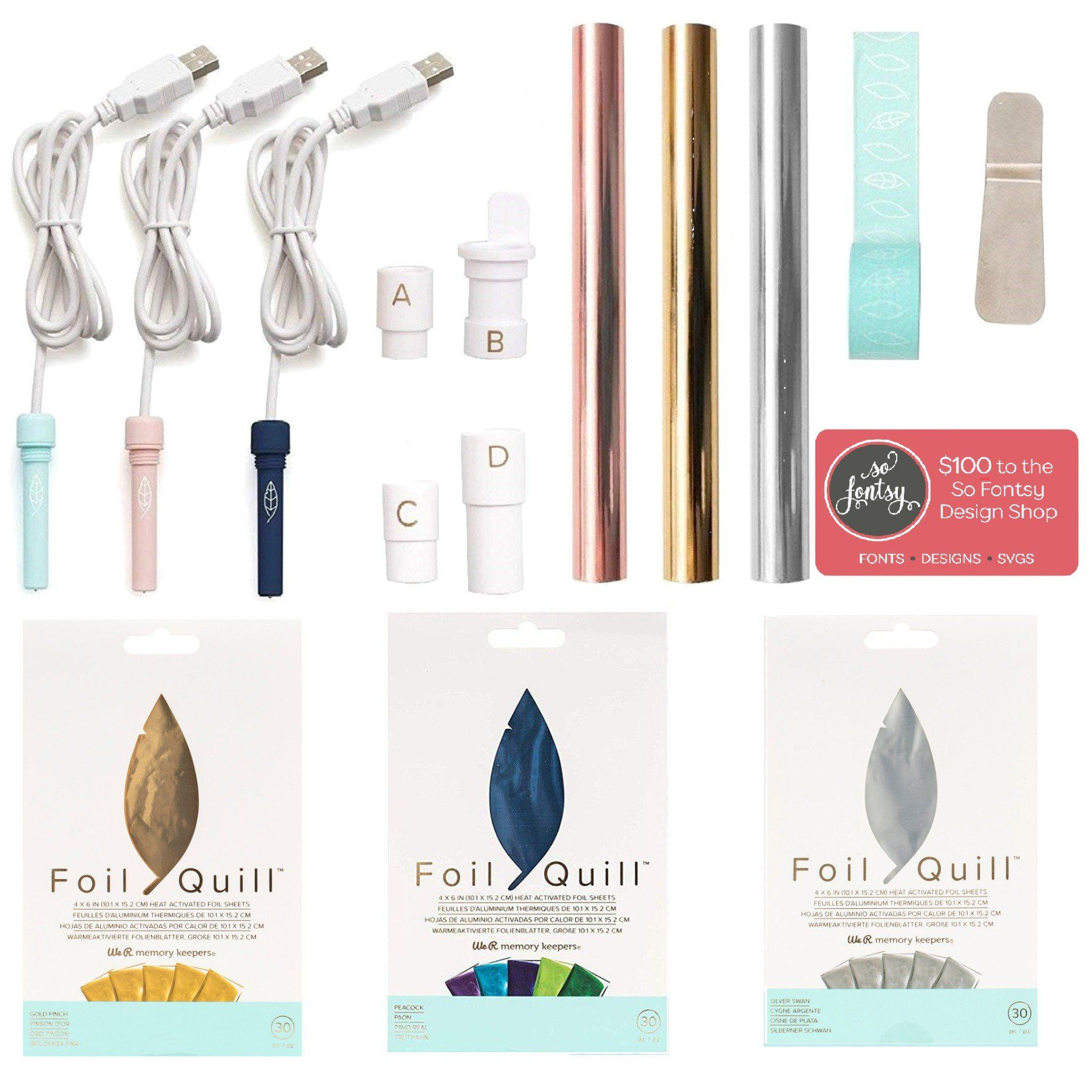 Foil Quill All In One Bundle 3 Foil Sets 3 Quills Adapters Rolls Tape Design Card Swing Design Cricut Foil Quilling