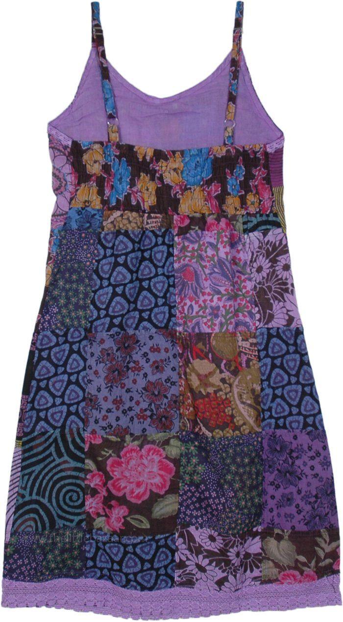 True Hippie Cotton Patchwork Sleeveless Dress in P