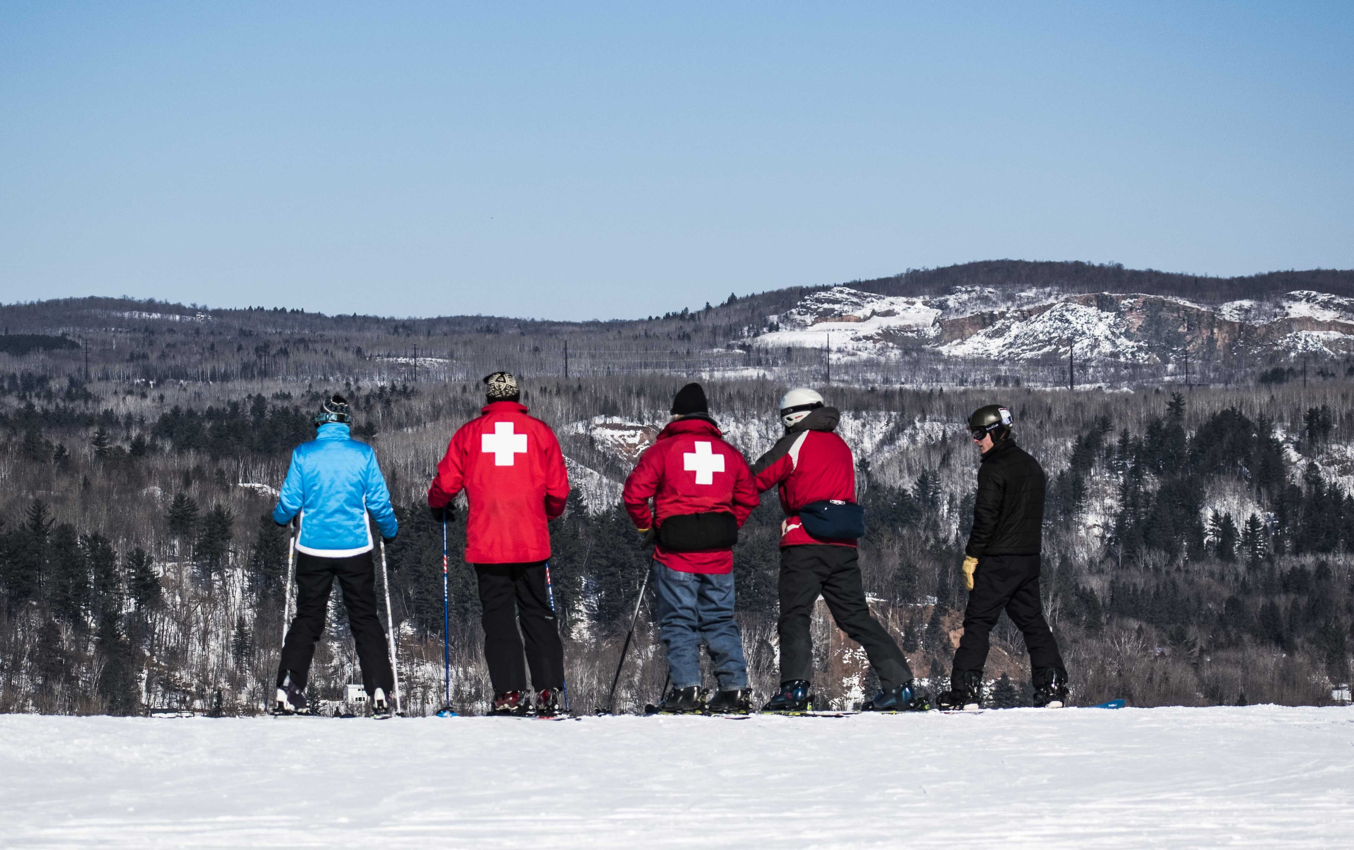 Ski Patrol Is Always Ready To Help Whenever Needed At Mont Du Lac Resort Skiing Snowboarding Mountain Biking
