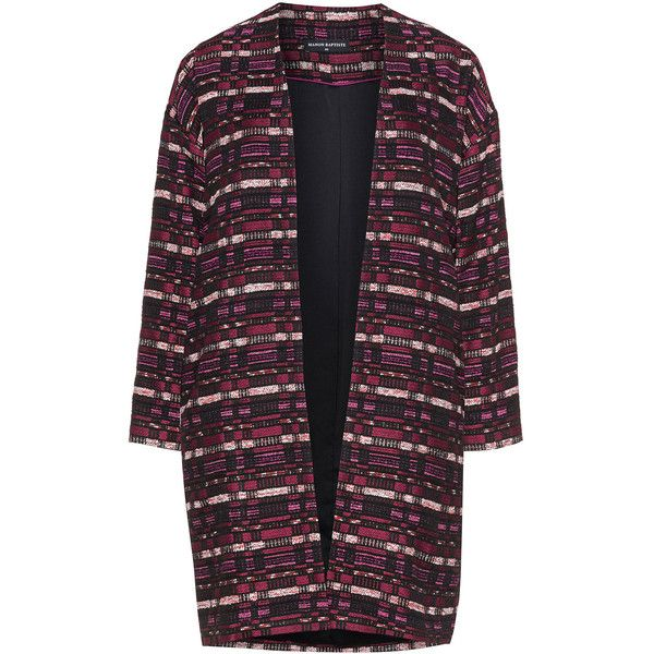 Manon Baptiste Pink / Black Plus Size Open front multicoloured jacket (685 BRL) ❤ liked on Polyvore featuring outerwear, jackets, pink, plus size, fleece-lined jackets, pink jacket, woven jacket, long sleeve jacket and plus size womens jackets
