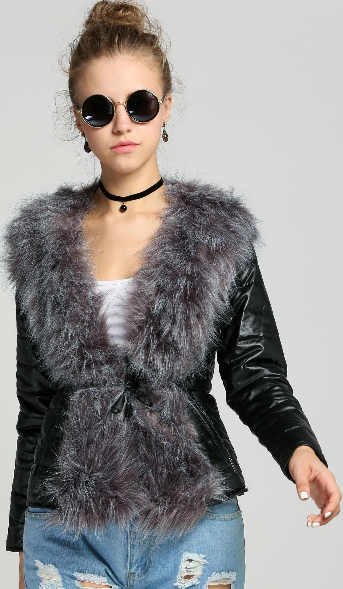 Black Faux Fur Leather Long Sleeve Warm Coat (With images