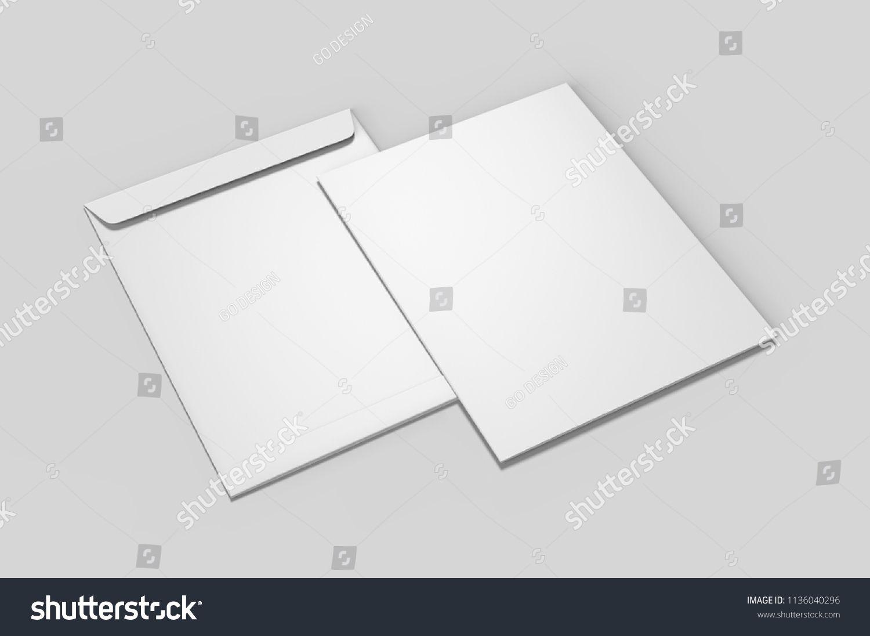 Blank White C4 Envelope Mock Up Template Render Ilration