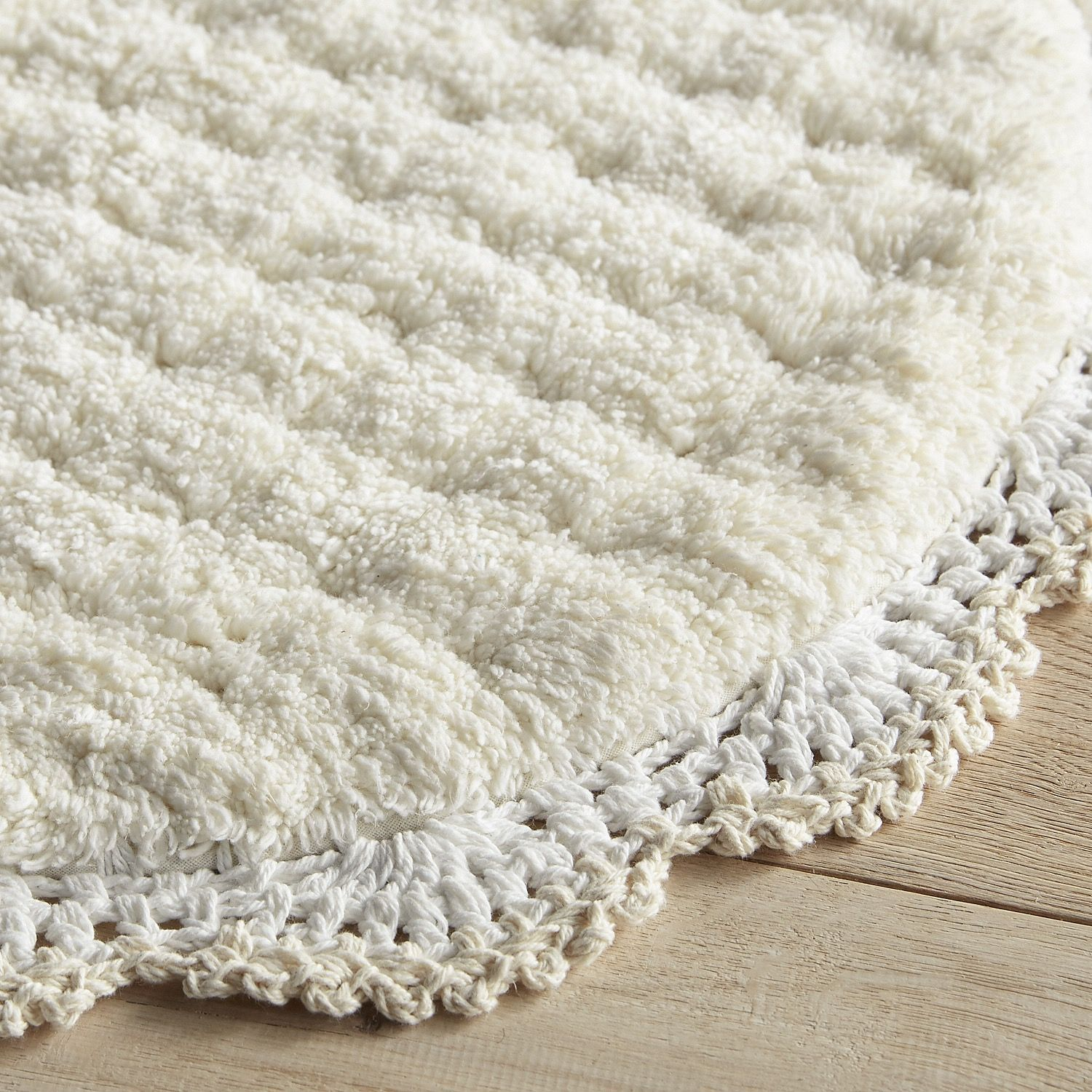 Crochet Edge Linen Bath Rug Tan