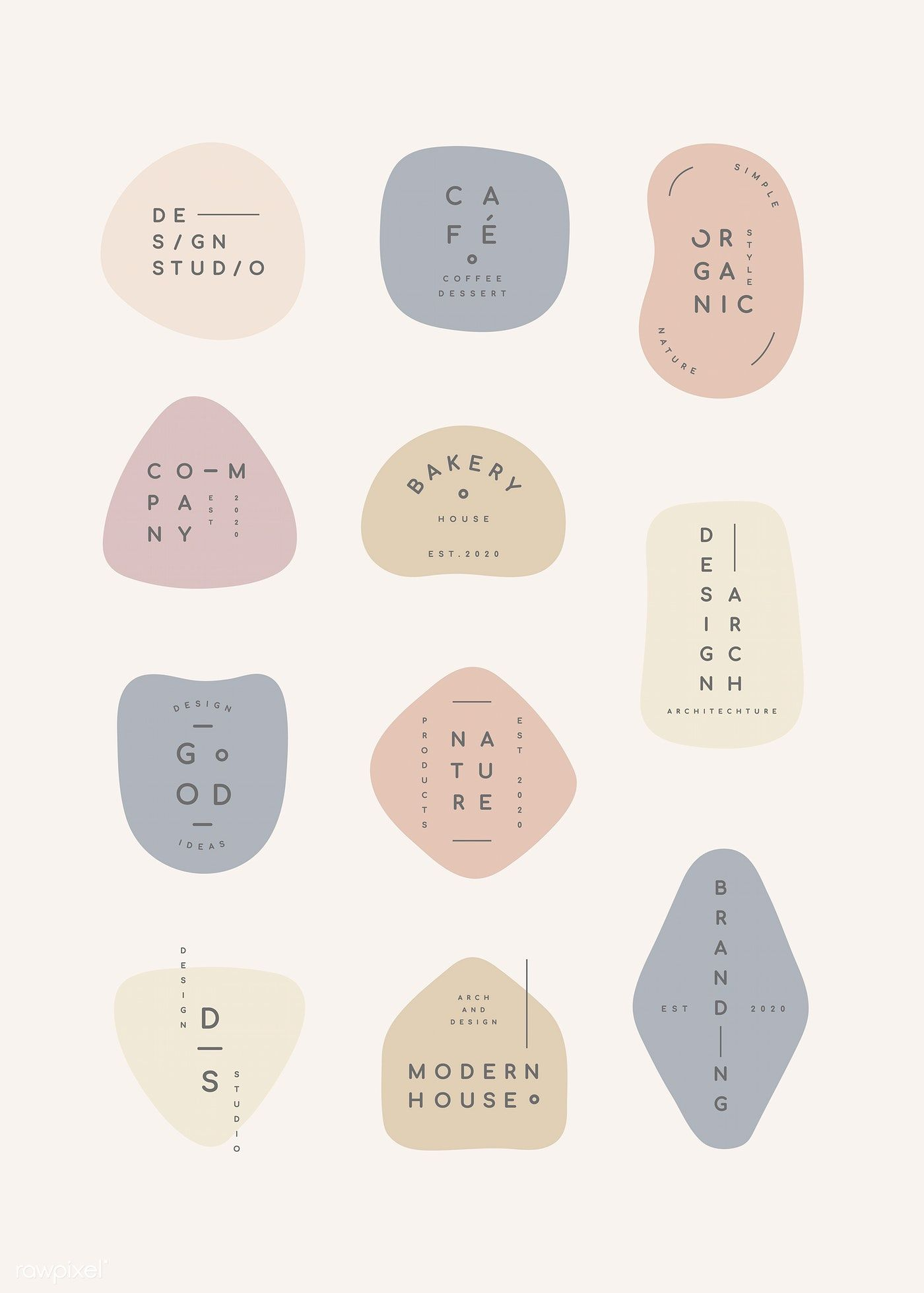 Simple pastel minimal badge collection vectors | premium image by rawpixel.com / wan