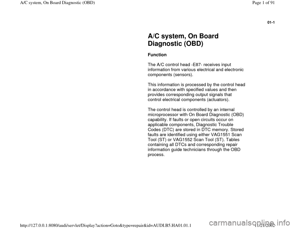 Audi A4 1995 B5 1 G Ac System On Board Diagnostic Workshop Manual Ac System Audi A4 Manual