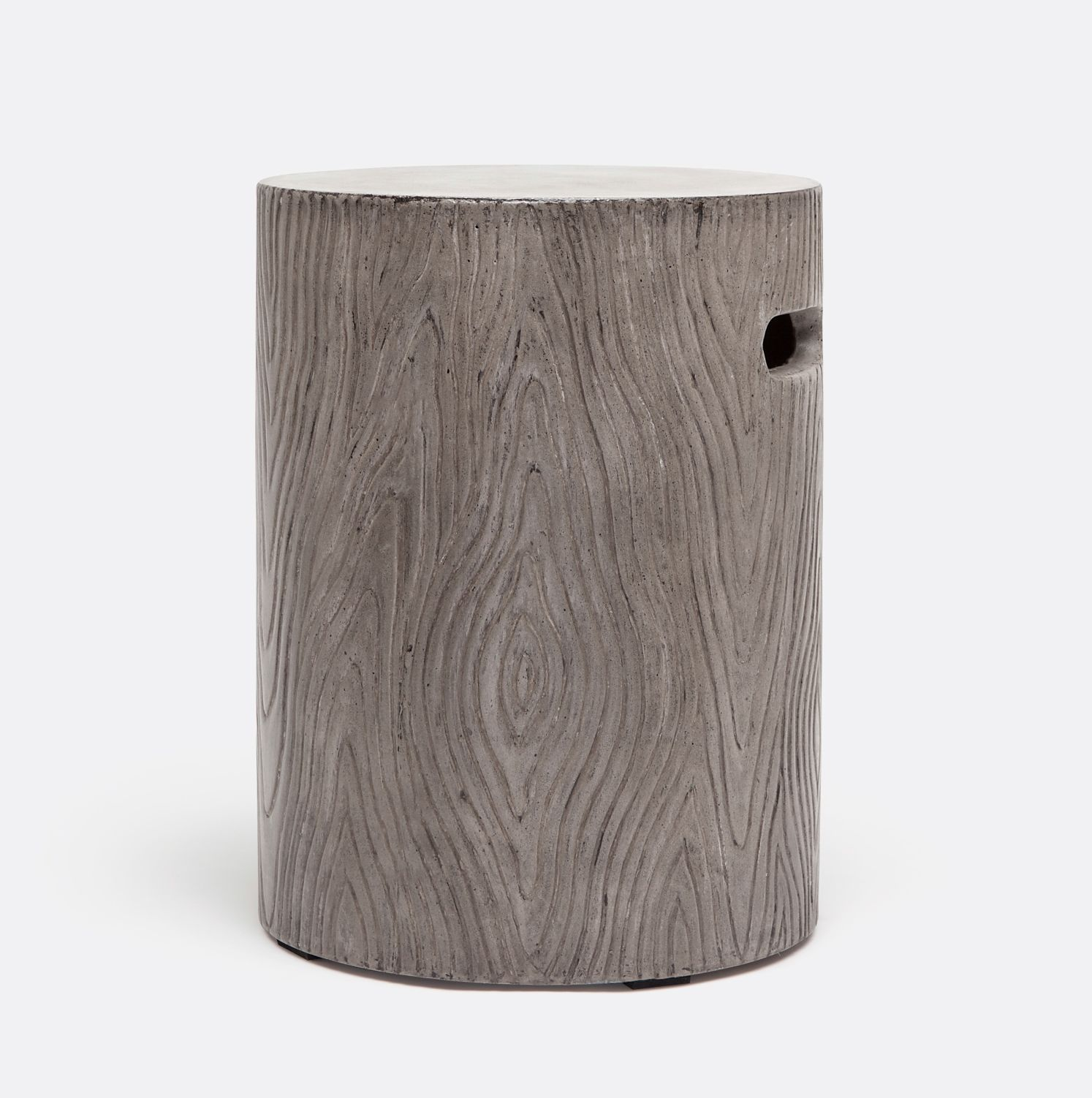 Blanche Concrete Faux Bois Round Stool Suitable For Outdoor Use Finishes:  Black Concrete, Dark