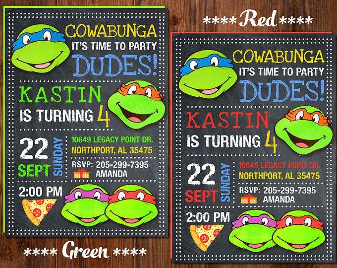Ninja Turtle Invitation Ninja Turtles Party TMNT invitation