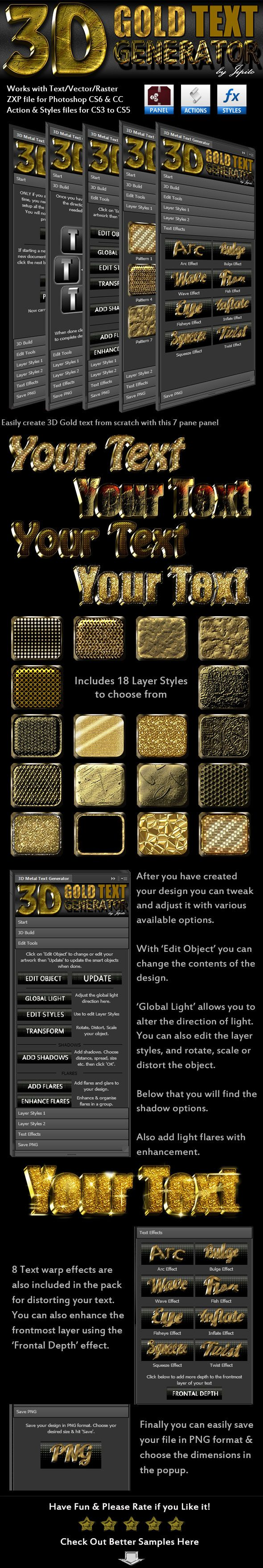 3D Gold Text Generator Panel | Fonts-logos-icons | Photoshop text