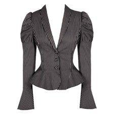 Grey and Black Striped Flared Blazer