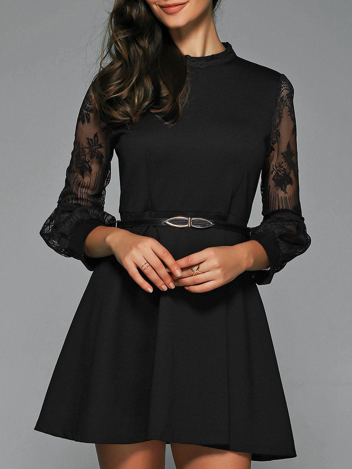 A Line Sheer Little Black Dress With Belt Lbd Fashion Party Dresses Black Dresses Black Lace Fashion Latest Casual Dress Business Casual Dresses [ 1596 x 1200 Pixel ]