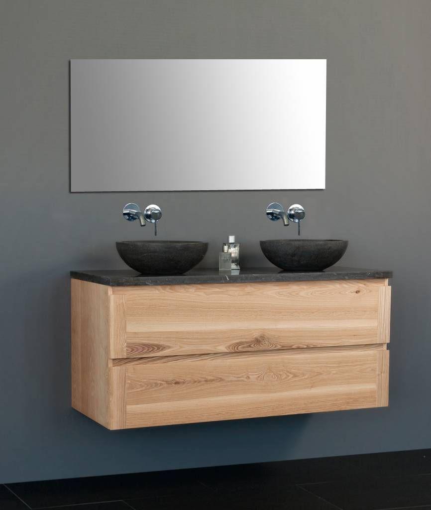 Ongekend Massief hout badkamermeubel , greeploos met 2 x natuursteen FJ-02
