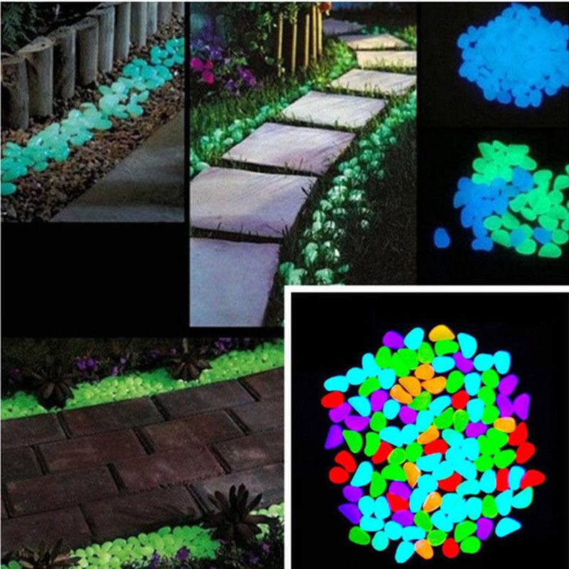 100PCS Glow in the Dark Stones Luminous Pebbles Fish Tank Rock Garden Aquarium