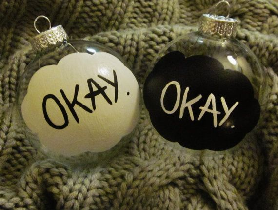"""Two hand painted glass ornaments, based on fan art for John Green's """"The Fault In Our Stars."""""""