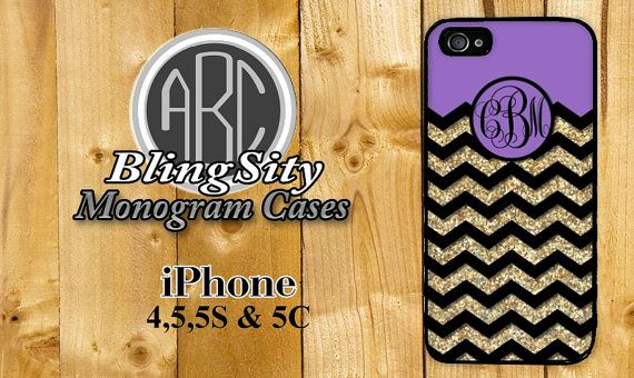 Purple Gold Glittery Chevron iPhone 4 5 5C Case Zig Zag Monogram Personalized Cover Rubber Silicone Not Actual Glitter by BlingSity, $13.95