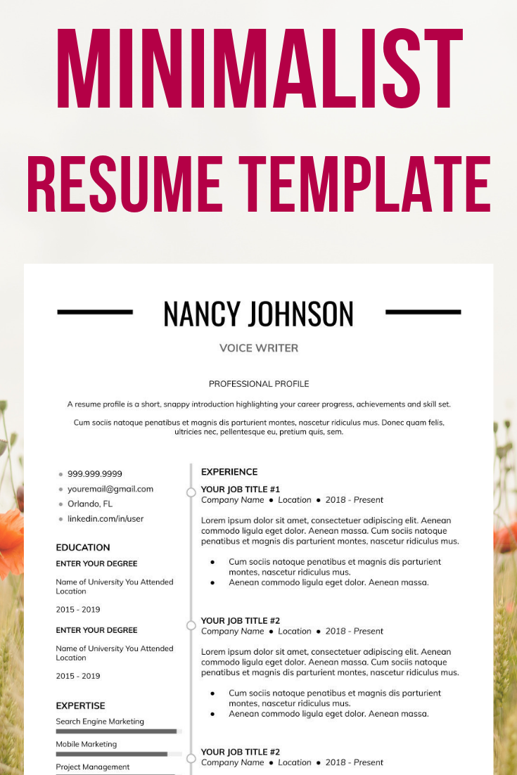 Photography Resume Resume Examples How To Create A Resume Minimalist Resume Minimalist Resume Template Resume Design Template