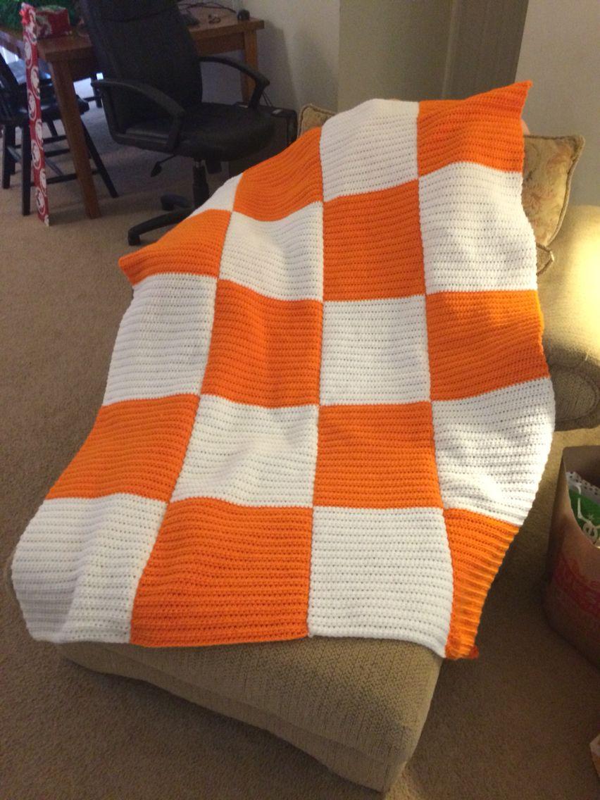 Crochet Blanket Tennessee Volunteers Checkerboard