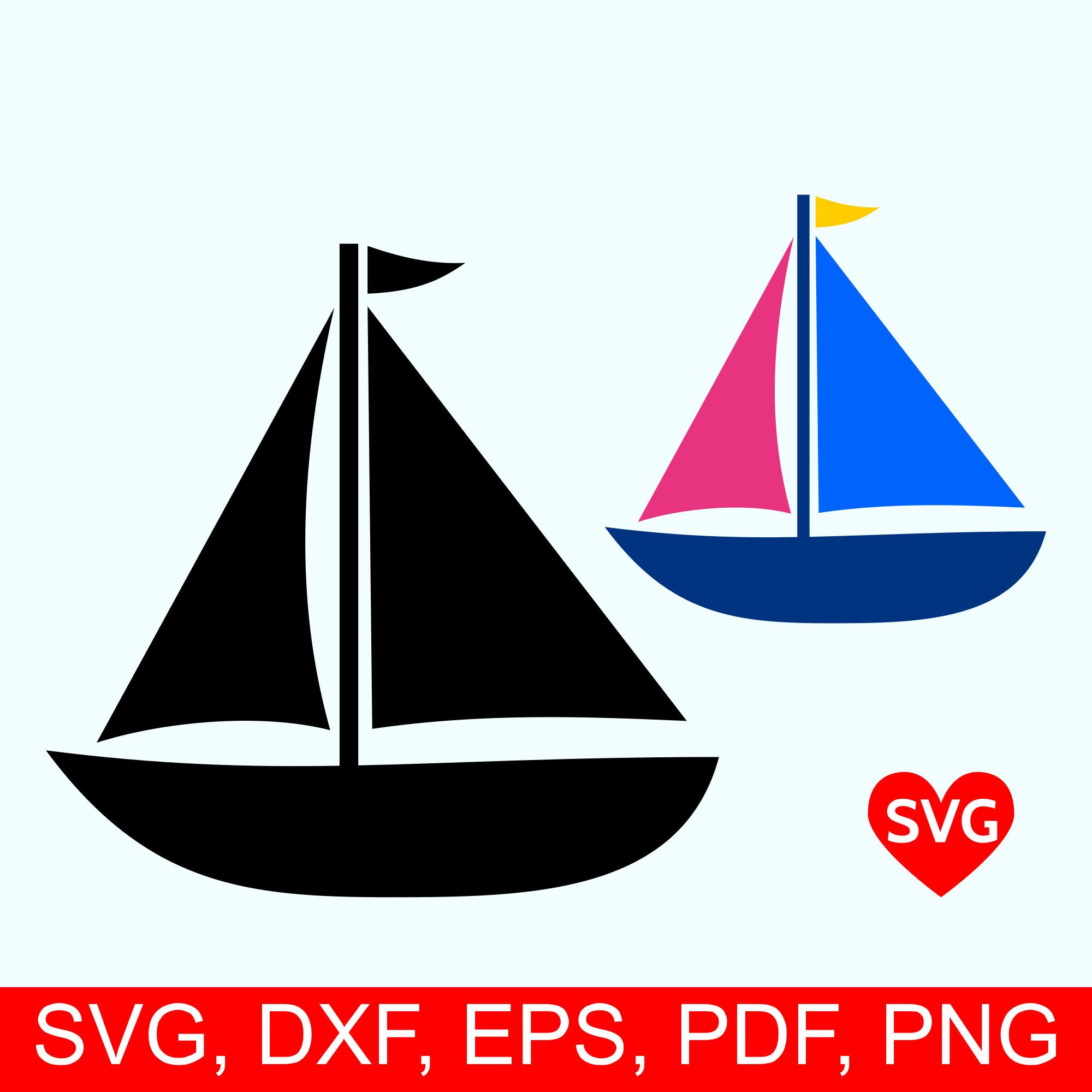 Sailboat SVG file for Cricut and Silhouette nautical clipart