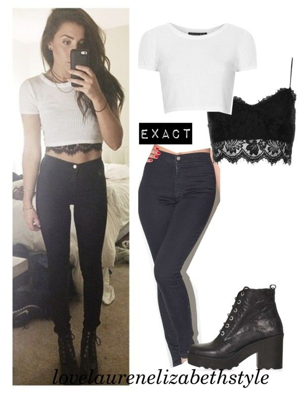 f137017e24 Top   Petite Rib Crop Tee (white) from Topshop Bralet   Petite Lace Bralet  from Topshop Jeans   Easy Jean (black) from American Apparel Shoes   APPLES  ...