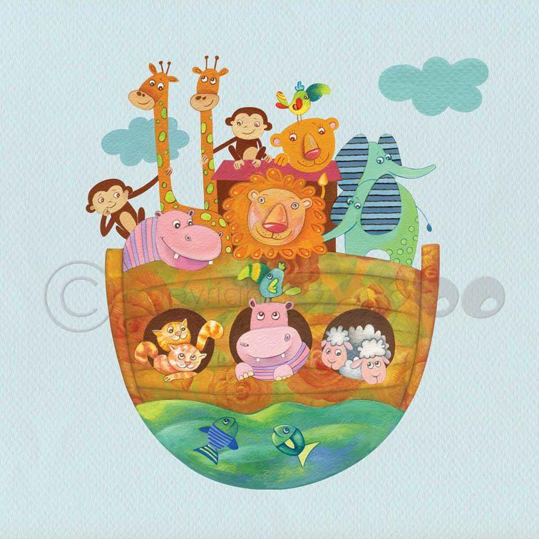 Noah S Ark Nursery Art Decor Canvas Print Baby Room Wall