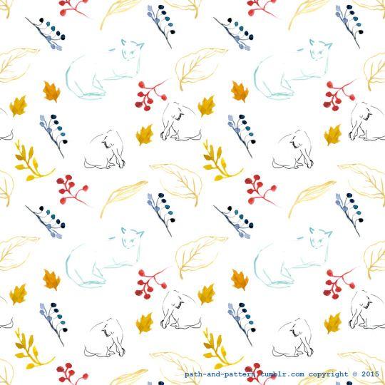 cat leaves watercolor patternP