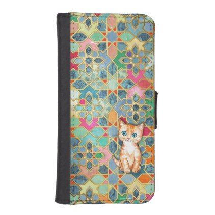 Tiny Ginger Kitten on a Gilded Tile Collage iPhone Wallet Case | Zazzle.com