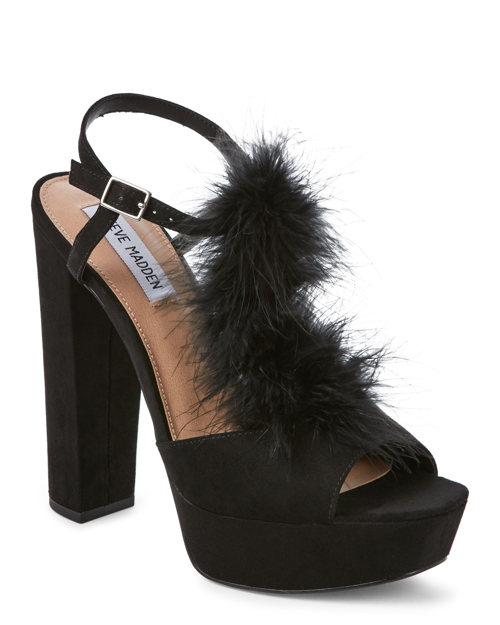a46302ddd86 Steve Madden Black Tricia Feather Platform Block Heel Sandals ...