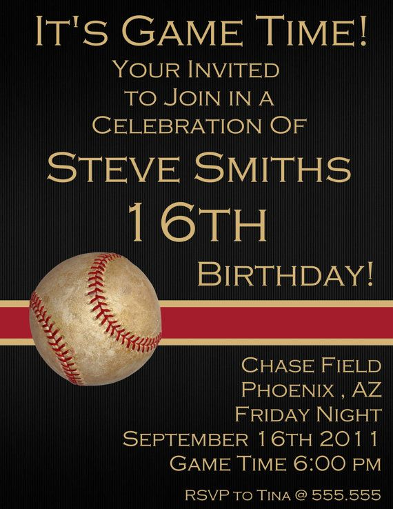 Baseball Sixteenth Digital Birthday Invitation By Stonelovedesigns 1500