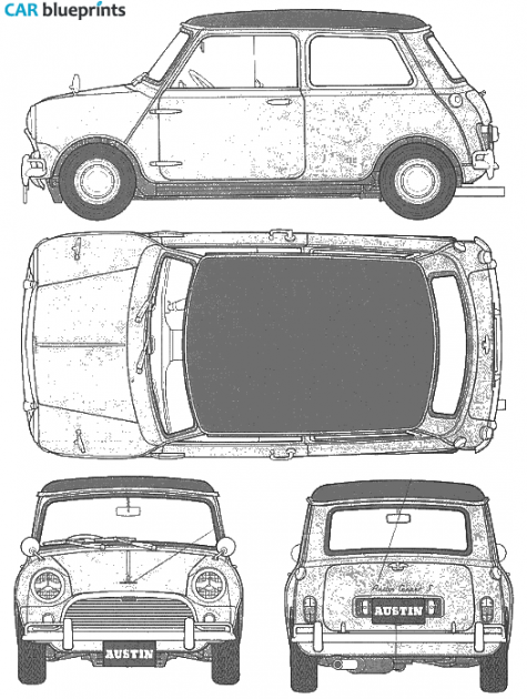 1961 austin mini cooper 1275 hatchback blueprint dessins pinterest voiture 4 roues et - Coloriage voiture mini cooper ...