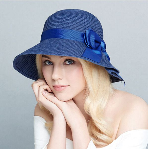 934af5502a5 Ribbon bow straw hat for women package ruffle sun hats UV protection ...