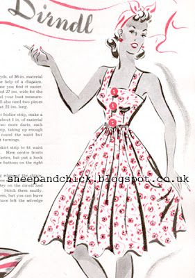 Free Patten 1930's Sewing - Very Easy Dirndl Dress