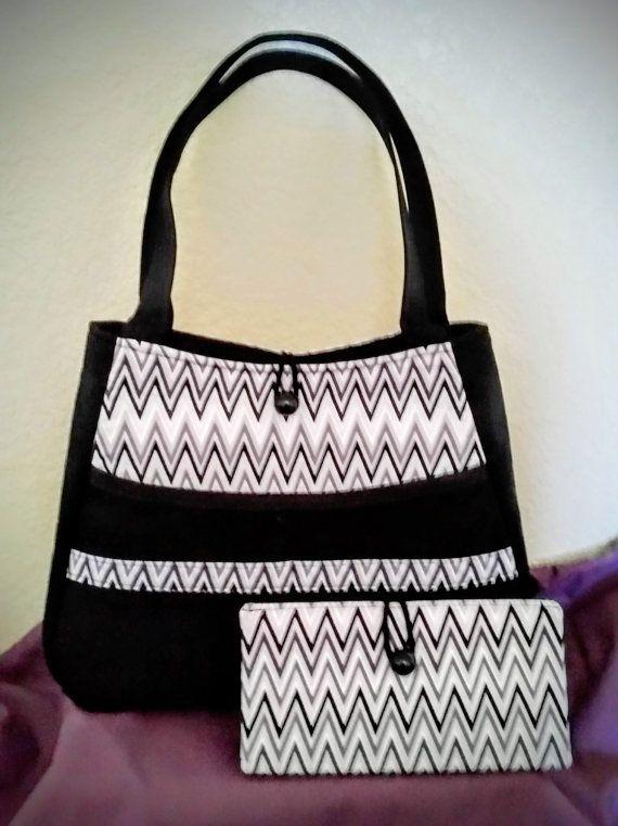 Black shoulder bag with matching wallet by HandcraftsandHistory