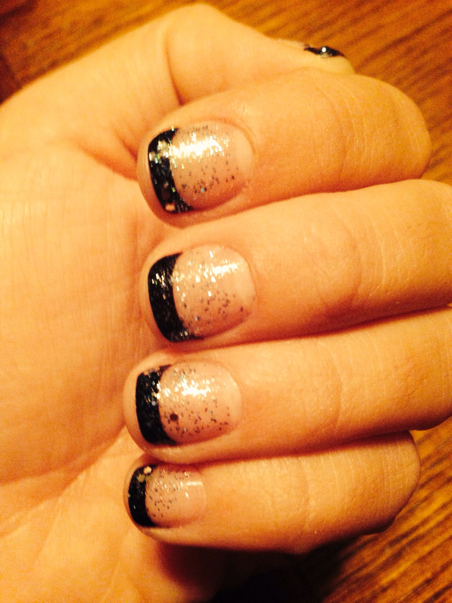 Black French manicure Essie Polish with silver and blue OPI sparkles ...